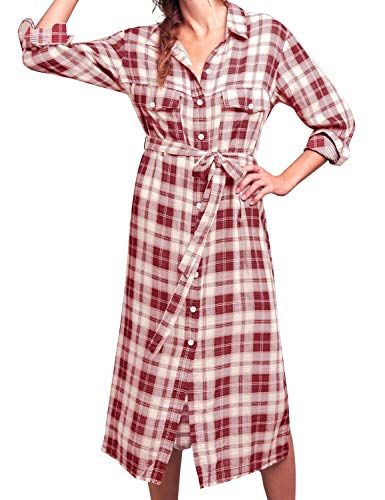 Fancyinn Frauen Checker Plaid Hemdkleid Tartan Hemd Lange Armel Tunika Oberteile Rot M Shirtkleid Hemdkleid Mode Outfits Frauen