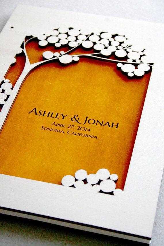 Woodcut Wedding Guest Book Album Tree of Life by OnceUponaPaper, $50.00