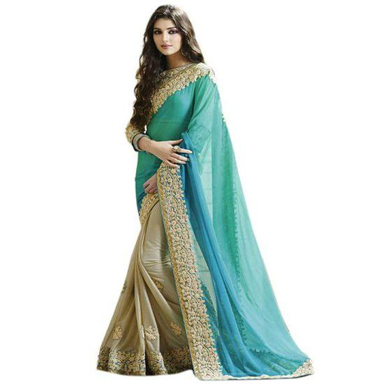 Buy Rashmi Creation Blue Colour Embroidered Georgette Saree Online India - 5466317