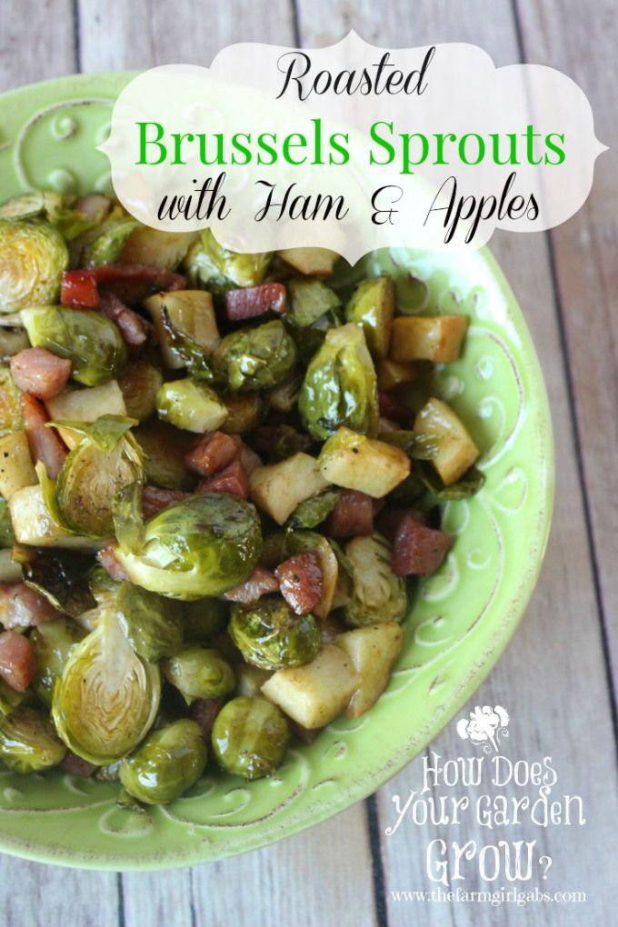 Roasted Brussels Sprouts with Ham and Apples