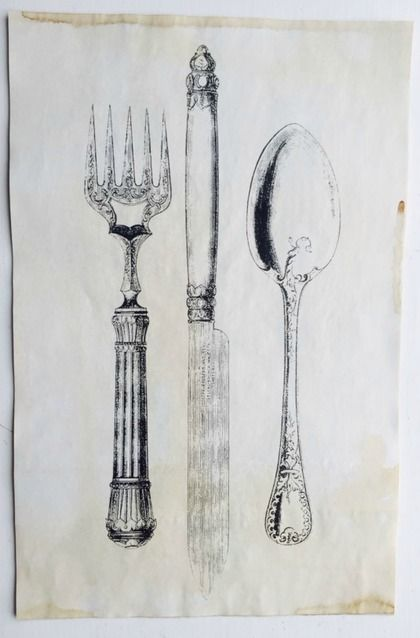 """Fork/Knife/Spoon Vintage Aged Papers  11"""" x 17"""""""