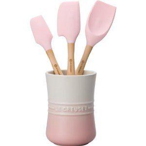 Le Creuset 3-pc silicone spatula set, pink