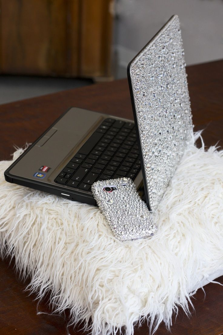 computer laptop iphone cell phone case encrusted in swarovski rhinestones crystals.