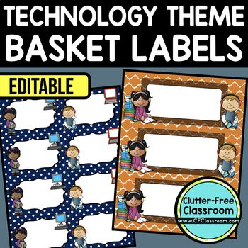 TECHNOLOGY THEME Editable Labels by CLUTTER FREE CLASSROOM - These organizational labels have many uses in the classroom or home school. They can be classroom library labels, name tags for cubbies or desks, supply labels, used for organizing centers, and much more. Grab these cute printables today for your preschool, Kindergarten, 1st, 2nd, 3rd, 4th, 5th, or 6th grade classroom or home school.  And make sure to check out the links for some FREE downloads to help make your space look great!