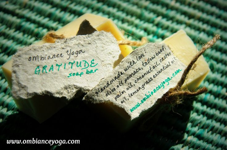 Introducing the OMbiance Yoga GRATITUDE soap bar. All natural, handmade, using: olive oil pomace, tallow beef, palm oil, coconut oil, castor oil, and lemongrass essential oils. Limited supply (but taking orders)! $4.50 per bar or five for $20. http://www.ombianceyoga.com
