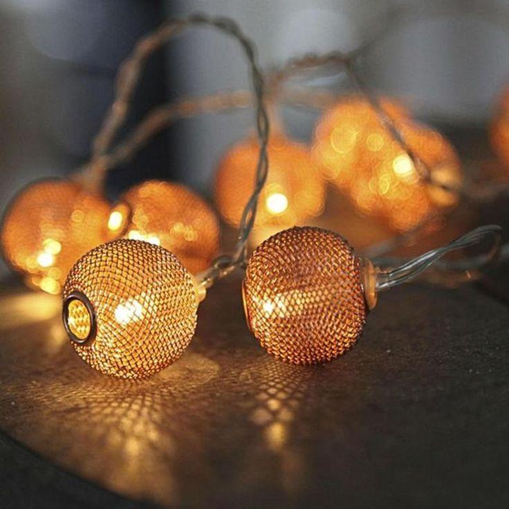 Guirlandes Lumineuses Métal Sphère Et Rond Net Ball – Taille : Taille Unique