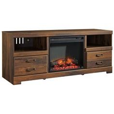 Ashley Signature Design Quinden Vintage Casual Large TV Stand with Fireplace Insert - Dunk & Bright Furniture - TV or Computer Unit $455 as of 10/2015