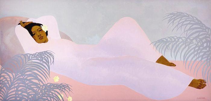 Pegge Hopper, (American, b. 1936), Lady Reclining
