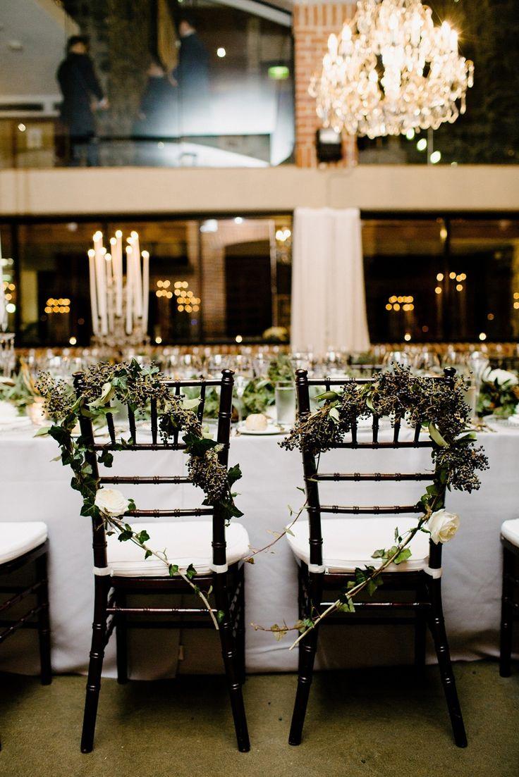 winter wedding chair garlands