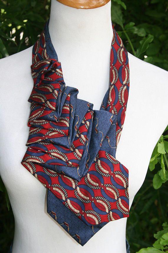 b1caaf67e10f RecycledNeckties ~ Necktie Necklace - Bill Blass NAVY BLUE Print Silk Tie /  RED & Navy Silk Tie - Women's Silk Necktie - Necktie Scarf   Necklace    Cravate, ...