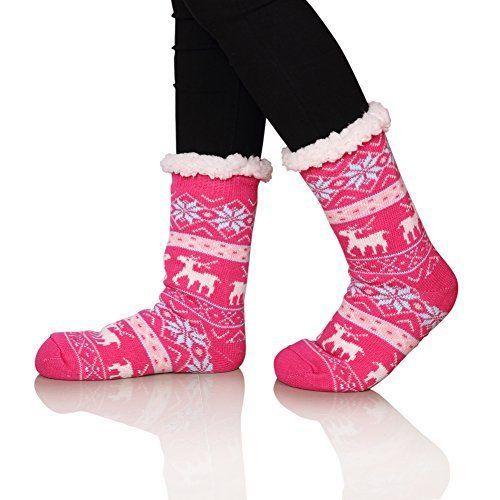 Women's Warm Fleece-Lined Slipper Boot Socks Xmas Deer Cozy Thick Non-Slip Socks #SDBING #BootSocks