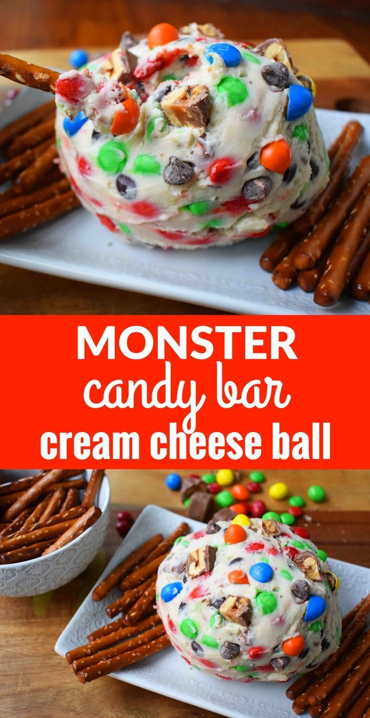 Monster Candy Bar Cheese Ball. Sweet cream cheese ball with chocolate candy bars and M & M's. Perfect with pretzels. This sweet monster cream cheese ball is perfect for parties. www.modernhoney.com