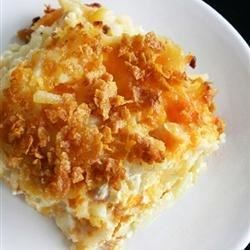 Hash brown potatoes are baked in a creamy, cheesy sauce for a brunch main dish or a nice side for dinner.