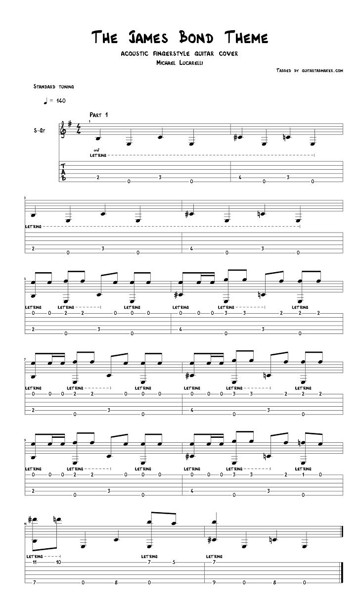 The James Bond Theme Song Fingerstyle Guitar Tab