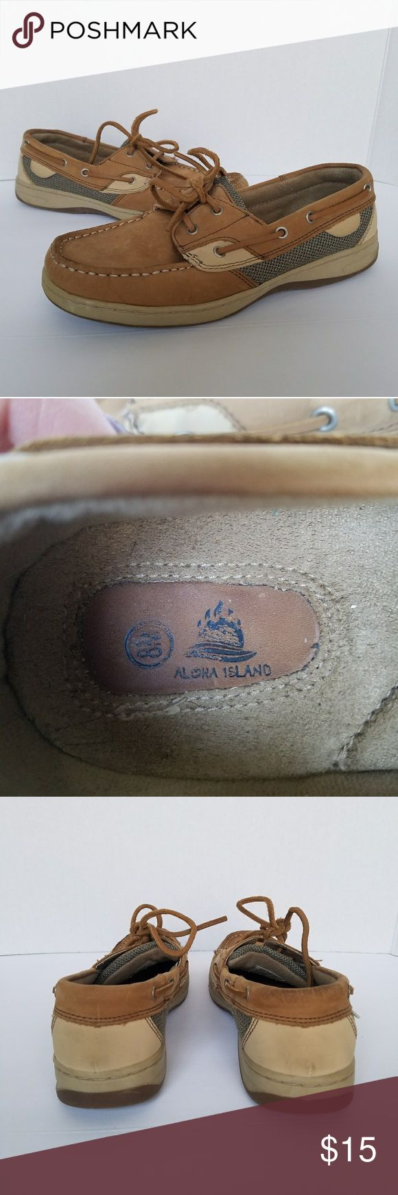 Leather Boat Shoes Aloha Island 8m Brown leather boat shoes in fair condition. Soles are in perfect condition. Have some wear on tops. Leather is soft and there is a lot of life left. No smells. Smoke and pet free. Aloha Island Shoes