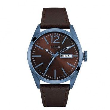 W0658G8 Ανδρικό μοντέρνο ρολόι GUESS με ημέρα-ημερομηνία, με πρωτότυπη μπλε κάσα και καφέ δέρμα-καντράν | Ανδρικά ρολόγια GUESS ΤΣΑΛΔΑΡΗΣ στο Χαλάνδρι #Guess #καφε #ημερομηνια #δερμα #ρολοι