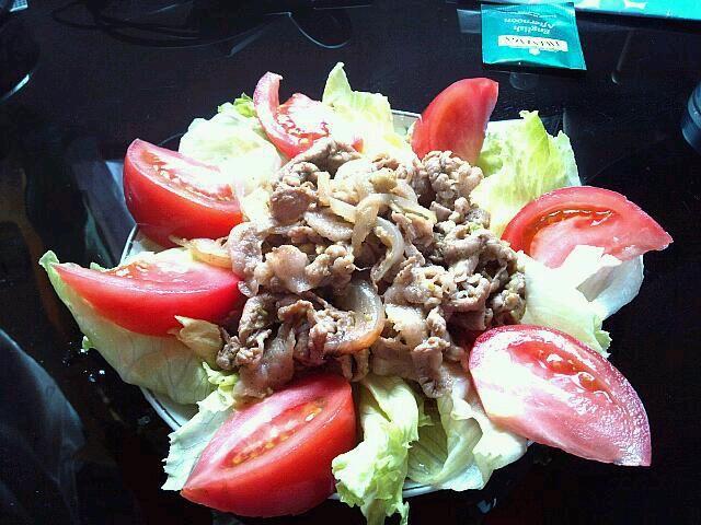 2013年5月31日(金) 豚肉、玉ねぎ、アボカド、トマト、レタス  ごまダレ冷やし中華があったので上にライドオンして食べます。 アボカド切るの難しい。次は豆腐と混ぜてみよう。フレンチの前菜っぽいスモークサーモンのやつにも挑戦したい。 - 2件のもぐもぐ - アボカド和え豚肉サラダ by maro14