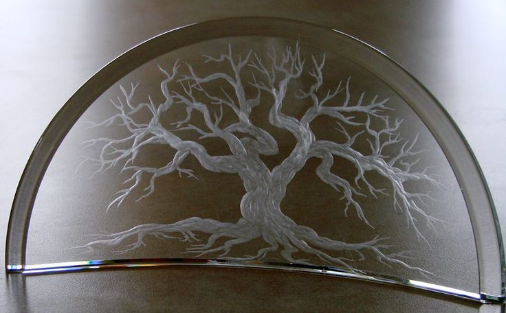 Mighty Oak* Hand engraved crystal by Catherine Miller of Catherine Miller Designs* Technique Stone Wheels