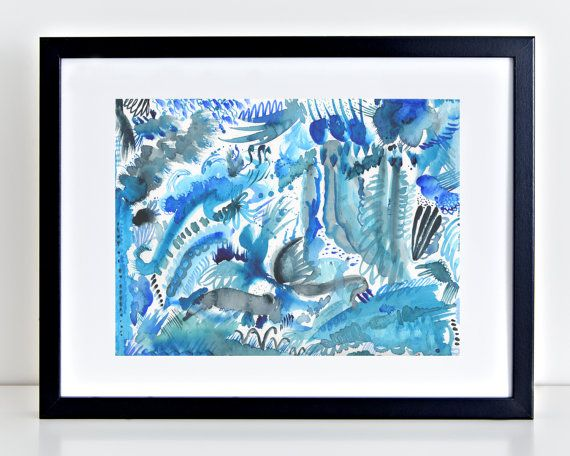 Stampa acquerello astratto intitolato Oceano di ThePaperBluebird