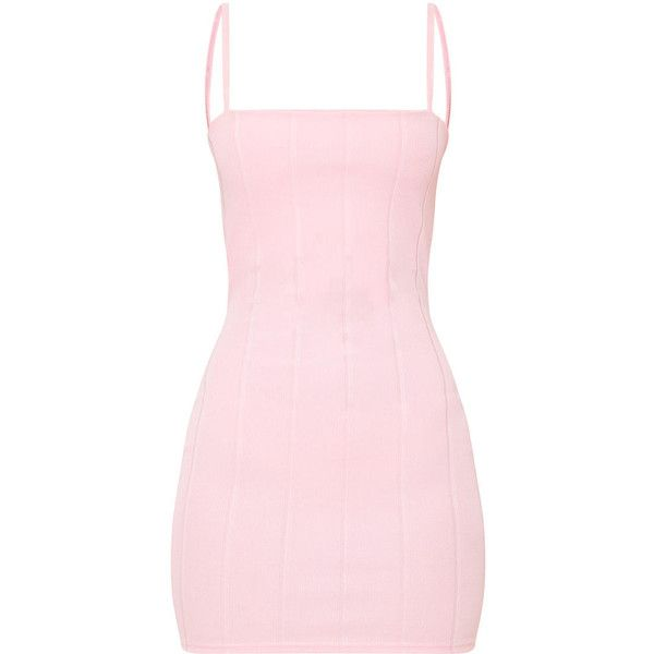 Pink Straight Neck Bandage Bodycon Dress ($45) ❤ liked on Polyvore featuring dresses, pink day dress, body con dress, body conscious dress, bandage dress and straight dresses