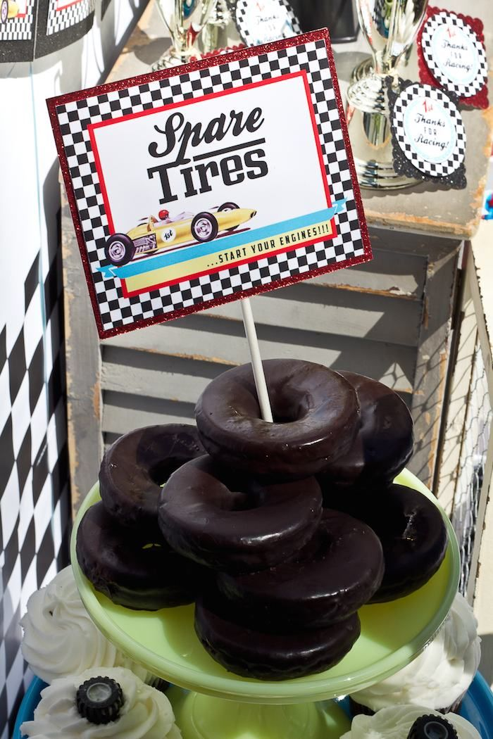 """Make a plate of """"spare tires"""" using chocolate donuts! You can even customize them like the silly tires from Blaze and the Monster Machines."""