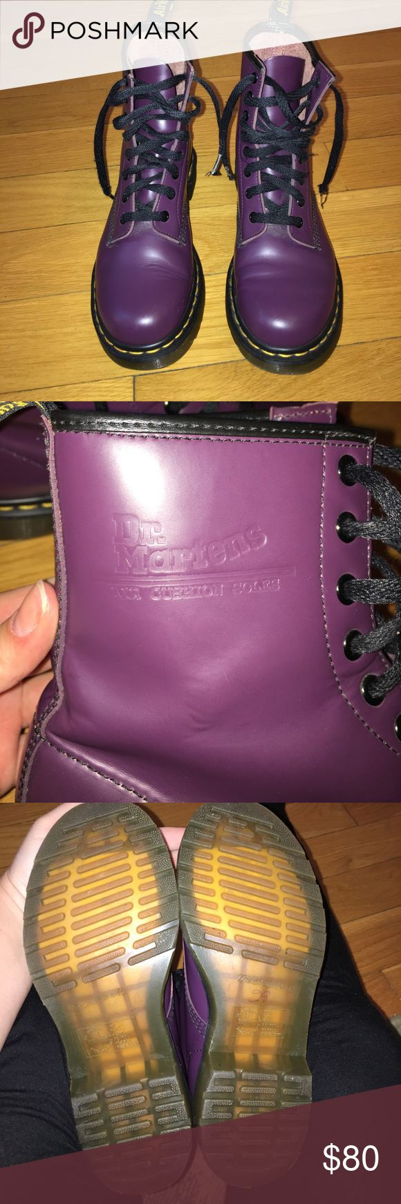 Purple Doc Martens Purple Doc Martens!! Original style- air wair with bouncing soles. Amazing condition- shows almost no signs of wear. No scuffs at all, the soles are in excellent condition, yellow stitching around the shoe in pristine condition. Only thing these shoes need is a new pair of shoe laces! Color looks like a darker eggplant color. Such a unique color and hard to find. Size 7 US, size 38 EU. These retail new for $140! Dr. Martens Shoes Combat & Moto Boots
