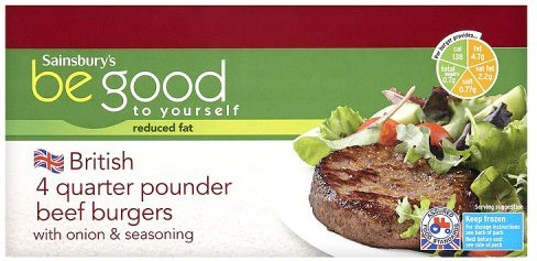 Sainsbury's Be Good to Yourself Quarter Pounder Beef Burgers (4 per pack - 454g)