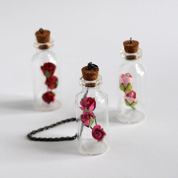 THREE Tiny Bottle Pendant with ROSE