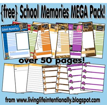 Awesome mega pack of homeschool memories printables!  I love this site for all the free printables she shares.  This one is great!