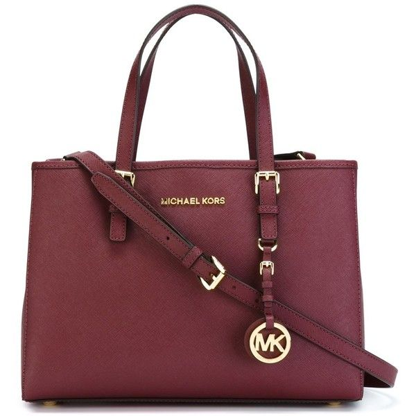 Michael Michael Kors Jet Set Travel Medium Tote Bag ($410) ❤ liked on Polyvore featuring bags, handbags, tote bags, bordeaux, travel tote, red tote, red tote bag, leather tote bags and leather purse