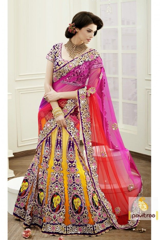 Add grace to your appearance in this beautiful, astonishing designer royal pictorial Lehenga Choli. The brilliant attire creates a dramatic canvas with amazing velvet patchwork.