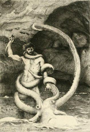 An illustration from Victor Hugo's novel Les Travailleurs de la Mer shows a man named Gilliatt battling a giant octopus. Source: Archive.org