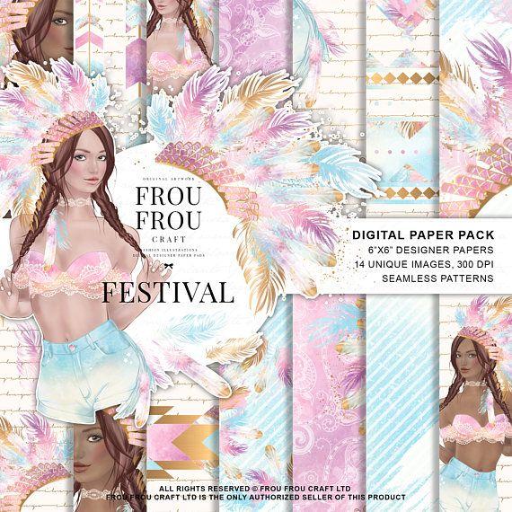 Boho Paper Pack Tribal Digital Boho Chic Wallpaper Native American Festival Fashion Illustration Bohemian Girl Indie Hippie Pastel Feathers – PRETTY