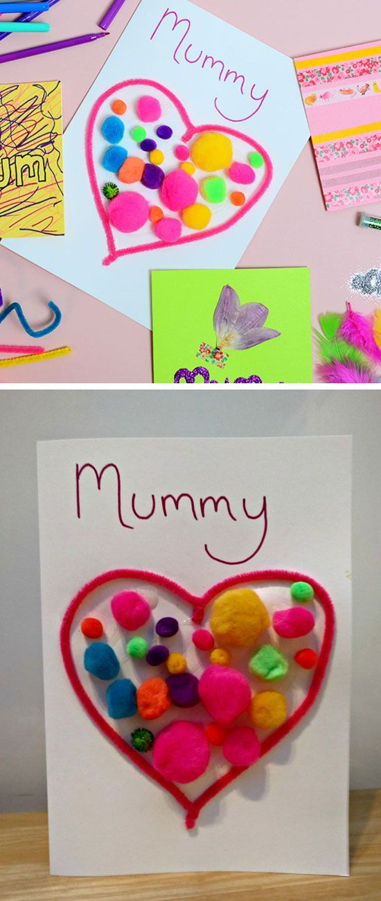 Pompom Heart Card   Easy Mothers Day Crafts for Toddlers to Make   DIY Birthday Gifts for Mom from Kids