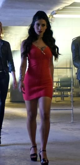 Bebe Deep Zipper Bodycon Dress as seen on Isabelle Lightwood in Shadowhunters | TheTake.com