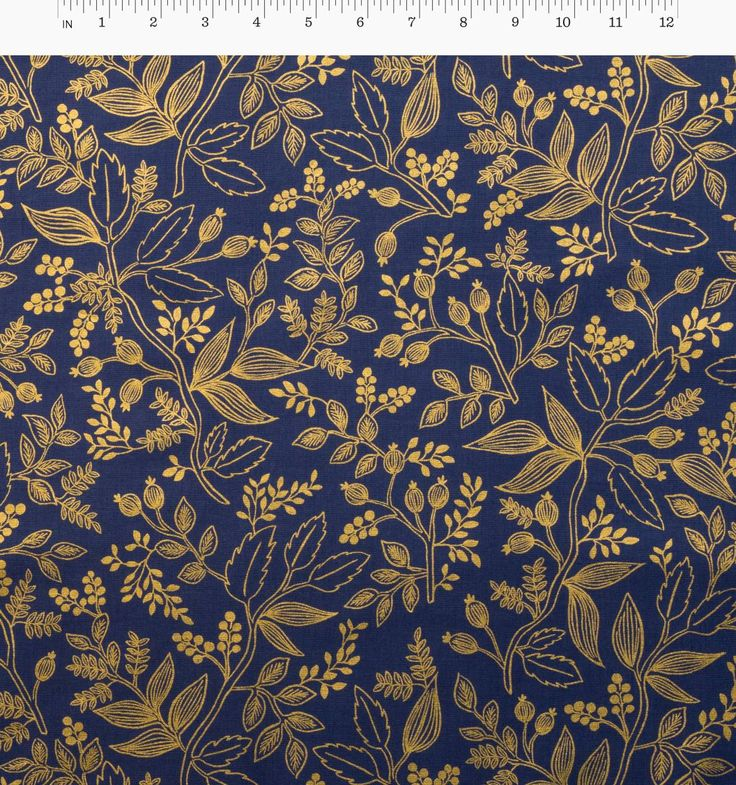 Queen Anne (Navy) Screen Printed Cotton Fabric with Metallic Ink