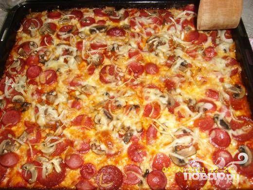 Домашняя пицца с колбасой - пошаговый рецепт с фото на Повар.ру