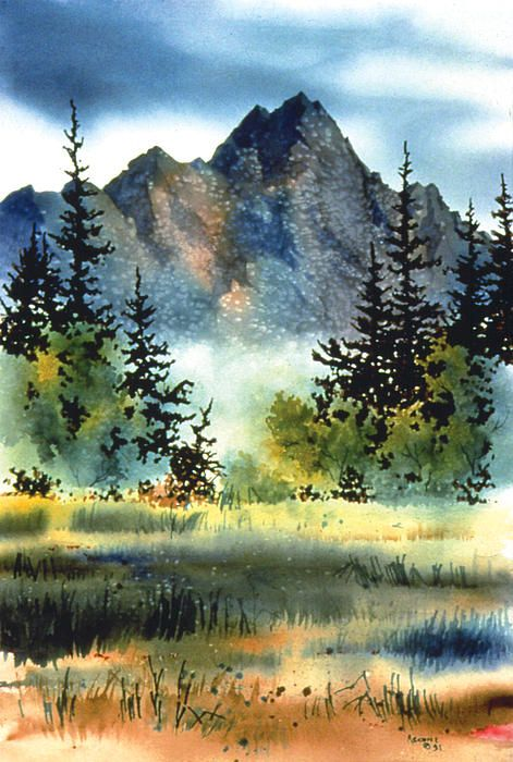 An impression of the mighty mountains that surround the Matanuska Valley in Southcentral Alaska. watercolor.