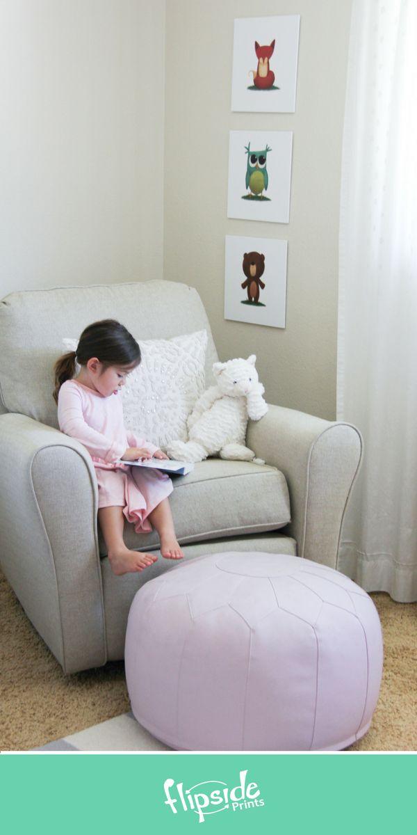 Flipside Prints | Woodland forest animal wall art for modern boys bedroom, girls room or nursery