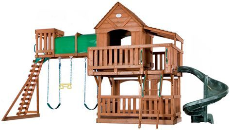 Adventure Playsets Woodridge Deluxe Swing Set with Spiral Slide