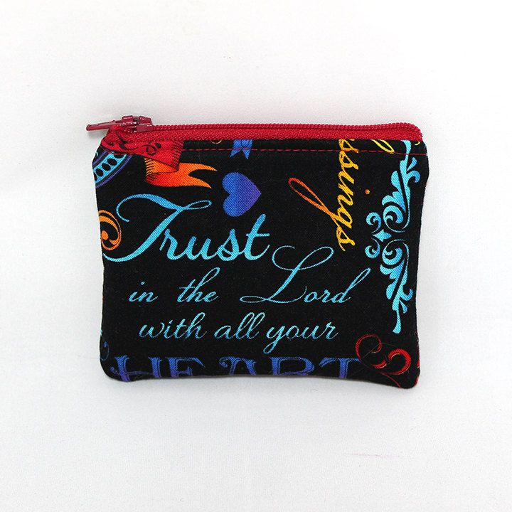 Pocket Zipper Case, Change Purse, Card Case, Coin Purse, Religious Sayings on Black 8647 by SewDarnSimple on Etsy