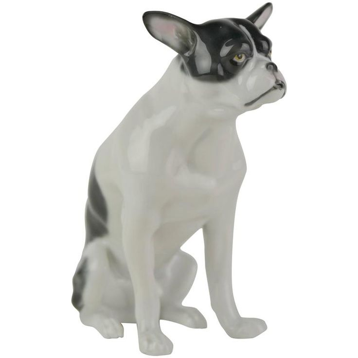 Fritz Pfeffer Porcelain French Bulldog Sculpture  | From a unique collection of antique and modern porcelain at https://www.1stdibs.com/furniture/dining-entertaining/porcelain/