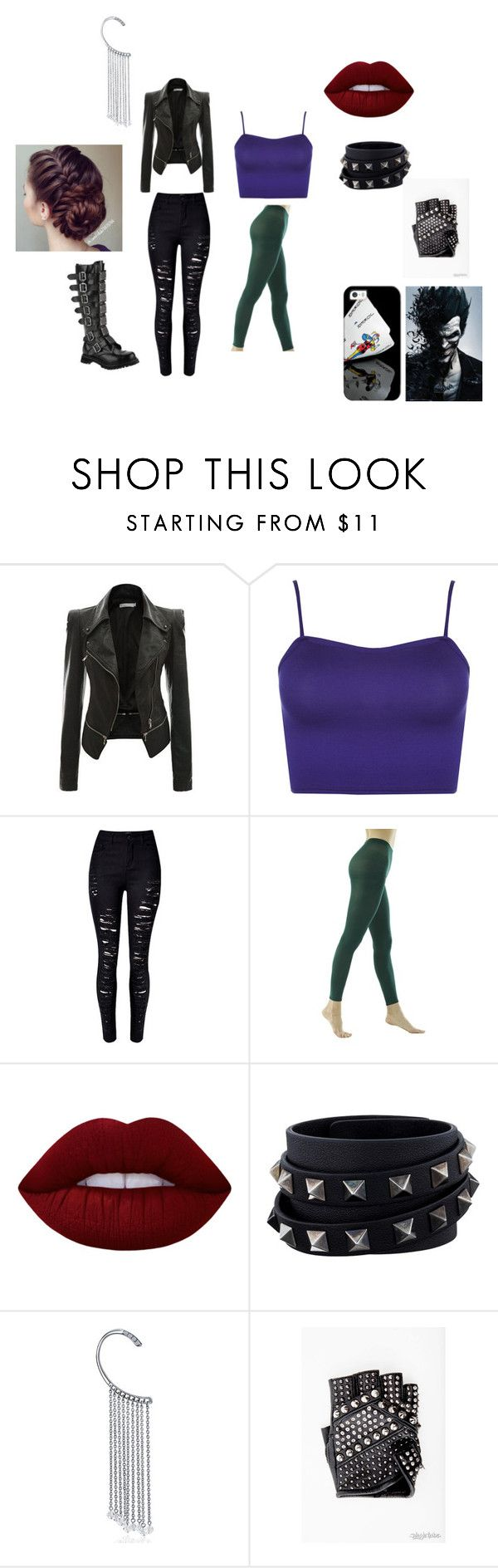 """female joker outfit"" by cutehydia on Polyvore featuring WearAll, Lime Crime, Valentino, Bling Jewelry and Casetify"