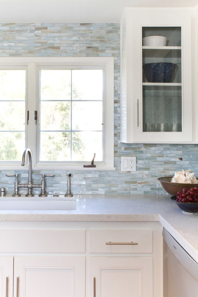 Breathtaking Mother Of Pearl Tile Backsplash Decorating Ideas Gallery in Kitchen Beach design ideas
