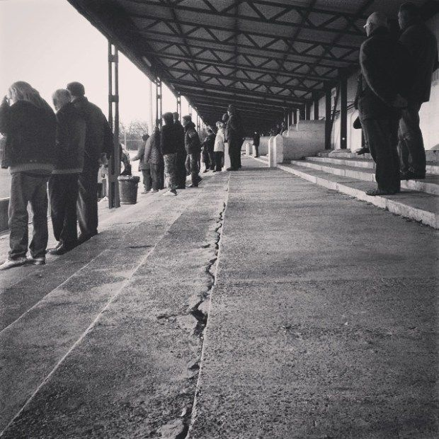 The huge terrace at Carshalton Athletic's War Memorial Ground