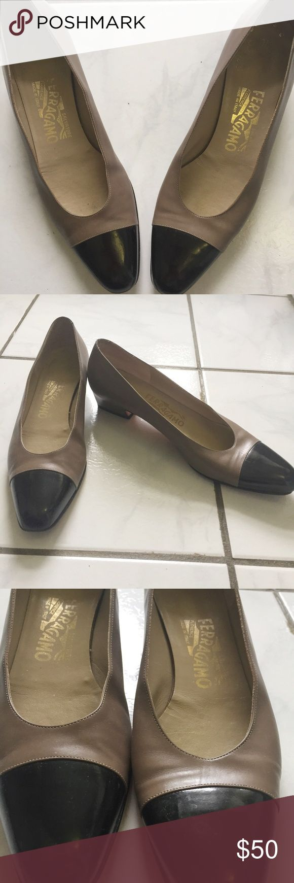 Gorgeous Salvatore Ferragamos Shoes! Small heels, gorgeous vintage shoes! Black/brown color and just so classic. Can be worn with anything. Only selling because too small for me. In great condition considering vintage, and have included picture to show wear. Heel has been updated which is great. Size 9AAAA vintage. Would probably fit modern 7.5 well. Salvatore Ferragamo Shoes