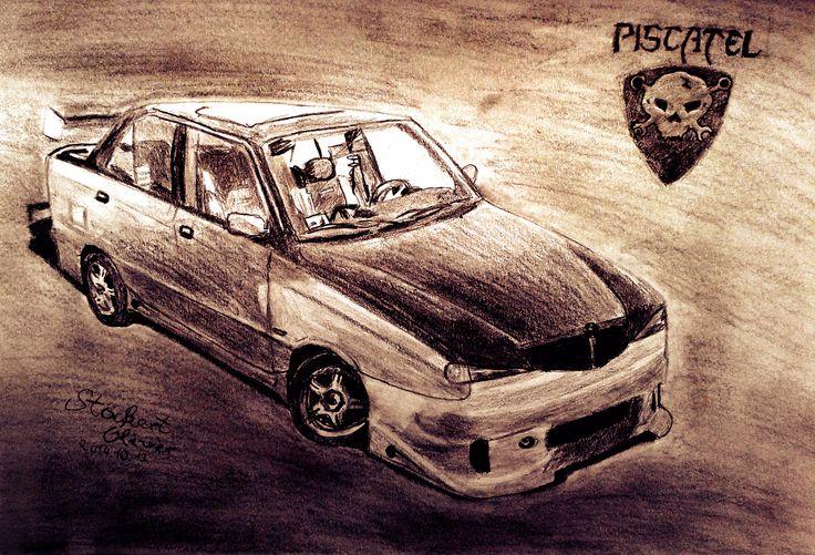 My friend's car - A4 drawing
