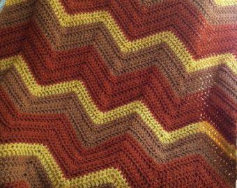 chevron zig zag ripple baby blanket afghan wrap crochet knit wheelchair stripes VANNA WHITE yarn rust honey mustard gold handmade AMERICA