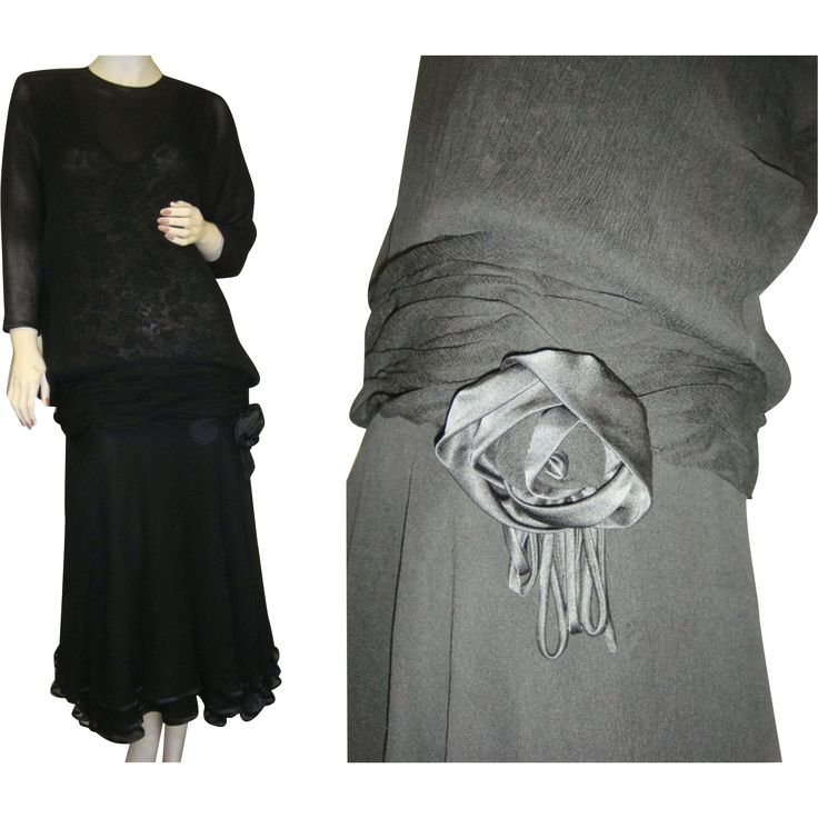 Vintage Art Deco black, silk crepe, flapper dress with lace bodice in a large size from the 1920's. Black lace interior bodice of dress is covered by
