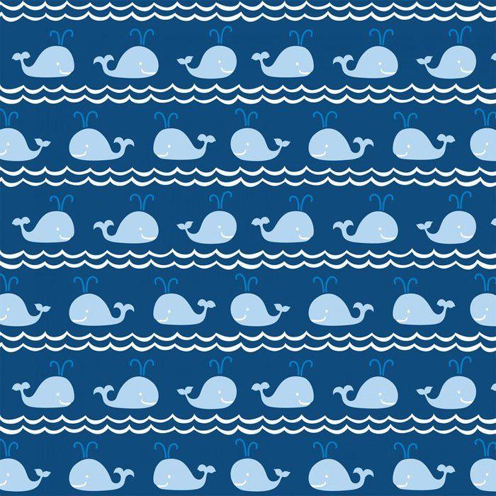 Para los amantes de las telas marineras hemos traido esta preciosidad. Alegres ballenas parecen estar ensayando una coreografía entre las olas del mar, con sus graciosos chorros de agua.  TIPO DE TELA: Tela patchwork de importación (USA). COMPOSICIÓN: 100% algodón de primera calidad ANCHO: 112 cm TAMAÑO ESTAMPADO: Cada ballena mide 4 cm de ancho. COLOR FONDO: Azul marino USO: Es ligera, ideal para patchwork, confección, decoración y otros proyectos de costura.
